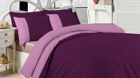 Ariatex povlečení bavlněný satén Exkluzive fialová 140x200 70x90