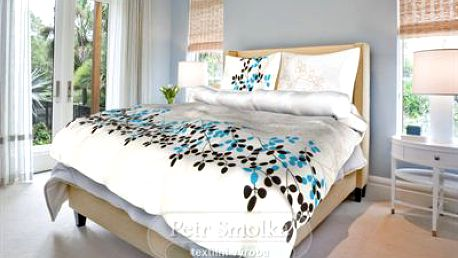 Smolka bavlna povlečení Květa modrá 220x220 70x90 s květinovým motivem