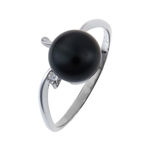 Dámský stříbrný prsten s černou perlou Orchira