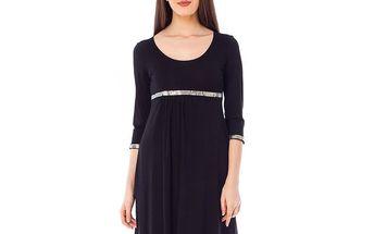 Dámské černé šaty s blyštivou dekorací 4Lilou