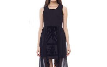 Dámské černé šaty s transparentní částí 4Lilou