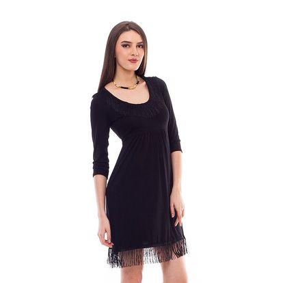 Dámské černé šaty s třásněmi 4Lilou
