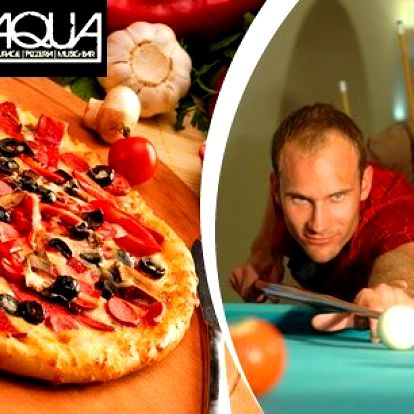 Dvě hodiny kulečníku a pizza o průměru 50 cm na výběr: Margherita, Funghi, Salami, Prosciuto, Quatro formaggi Tonno Capricciosa Piccante. Užijte si s přáteli skvělou zábavu v Aqua Eden!