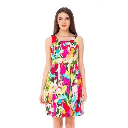 Dámské pestrobarevné šaty bez rukávů 4Lilou