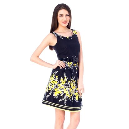 Dámské černé šaty se žlutými květy 4Lilou