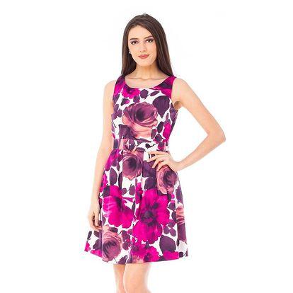 Dámské šaty s fialovými a fuchsiovými květinami 4Lilou