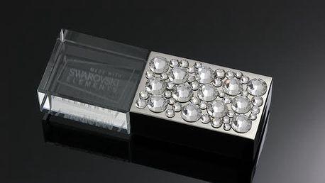 8GB USB s bílými Swarovski krystaly