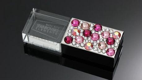 8GB USB s růžovými Swarovski krystaly