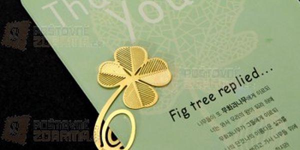 Záložka do knihy - čtyřlístek a poštovné ZDARMA! - 12609557