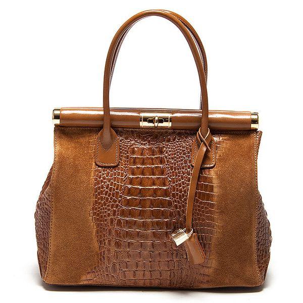 Dámská kufříková kabelka v koňakové barvě Carla Ferreri