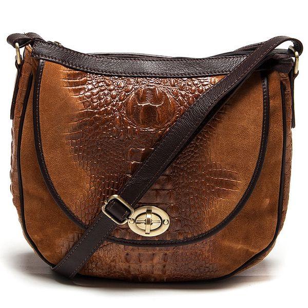 Dámská koňaková kabelka se zámečkem Carla Ferreri