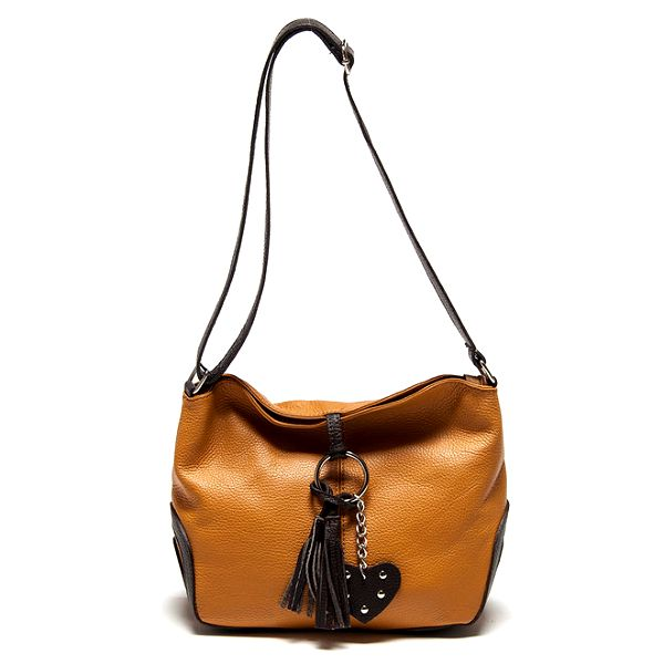 Dámská koňaková kabelka se střapcem Carla Ferreri