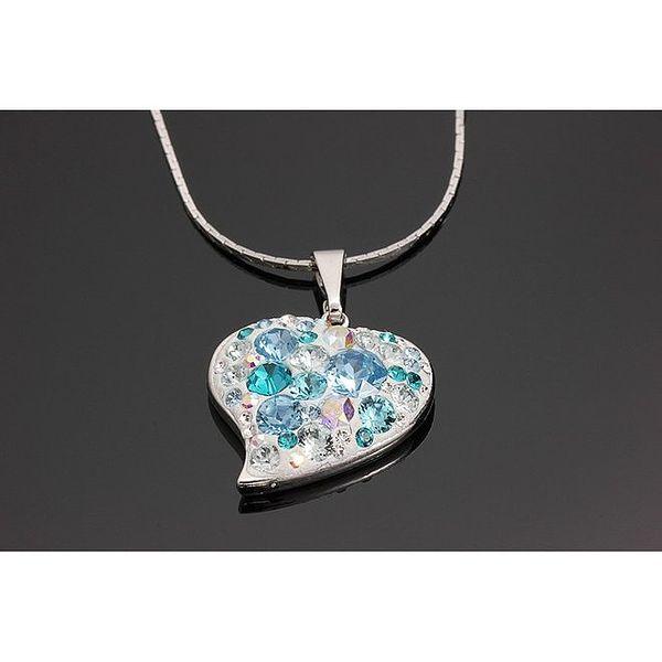 Dámský náhrdelník se srdcovým krystalkovým přívěskem v modré barvě Swarovski