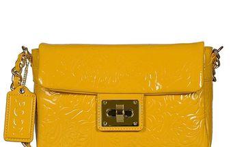 Dámská žlutá lakovaná kabelka s řetízkem POON Bags