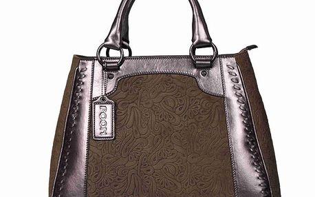 Dámská hnědá taška se vzorem POON Bags