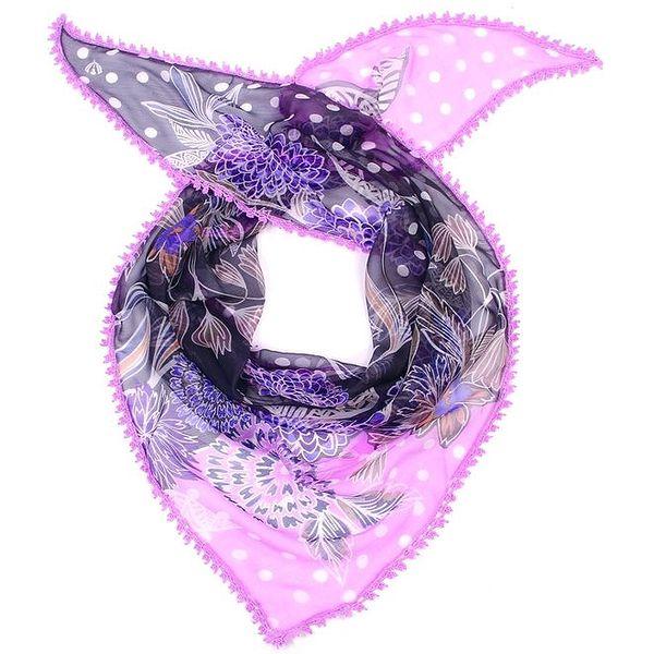 Dámský barevný šátek s fialovým lemem Fraas
