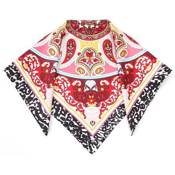 Dámský hedvábný šátek s červeným vzorem Fraas