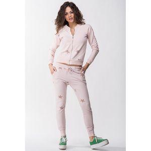 Dámská růžová souprava s hvězdičkami - mikina a kalhoty Sixie