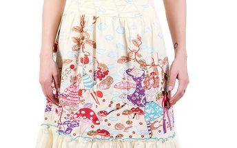 Dámská smetanová sukně s obláčky a vílami Barbarella