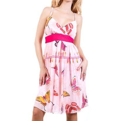 Dámské růžové šaty s motýlky Barbarella