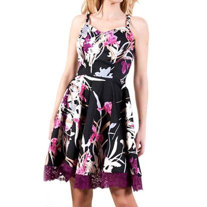 Dámské černé šaty s fialovými květy Barbarella