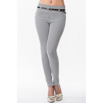 Dámské pruhované kalhoty s páskem Sixie