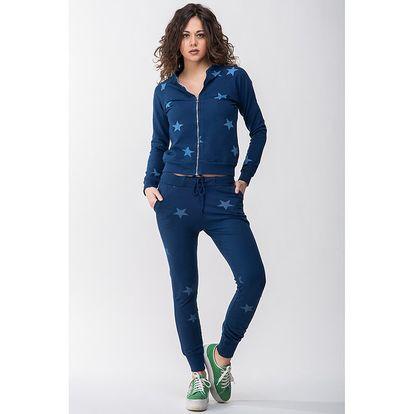 Dámská modrá souprava s hvězdičkami - mikina a kalhoty Sixie