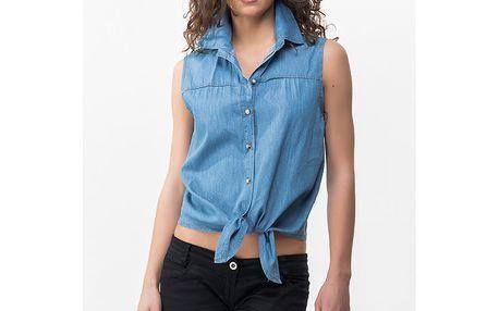 Dámská modrá denimová košile bez rukávů Sixie