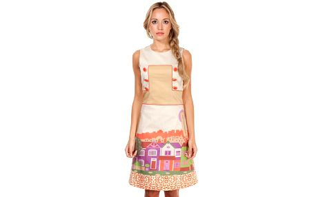 Dámské šaty s potiskem domečků Rosalita McGee