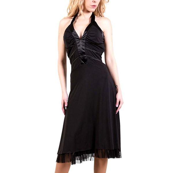 Dámské černé šaty s mašlí za krkem Barbarella
