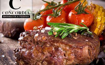 Vynikající až 50% sleva v nově otevřené luxusní restauraci CONCORDIA! Pobočka oblíbené Ristorante Concordia nově na Praze 4! Šéfkuchař doporučuje šťavnaté steaky, křupavou pizzu nebo domácí dezerty ze surovin přímo ze slunné Itálie!!