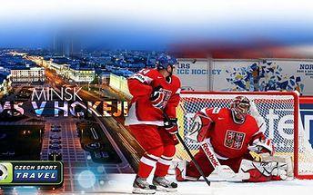 MS v hokeji v Minsku! Zažijte úžasnou atmosféru na utkáních ČR - KANADA a ČR - ŠVÉDSKO! V ceně: DOPRAVA, UBYTOVÁNÍ ve FAN VILLAGE, VSTUPENKY NA ZÁPASY, cestovní pojištění, zápasová šála i služby delegáta! Cena 5990 Kč za osobu!