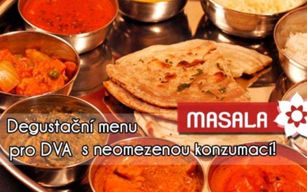 Fenomenální INDICKÁ DEGUSTAČNÍ MENU s neomezenou konzumací pro 2 osoby dle vašeho výběru! Široký výběr z mnoha různých jídel včetně dezertů. Fenomenální INDICKÁ restaurace MASALA Pod Karlovem!!.!