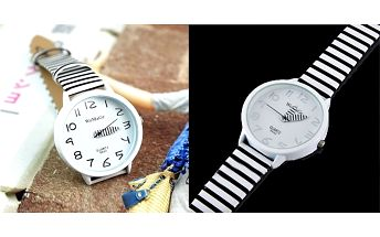 ELEGANTNÉ hodinky SINOBI WOMAGE s koženým pruhovaným remienkom a tvarovaným ciferníkom!