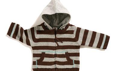 Šedý pruhovaný svetřík s kapucí