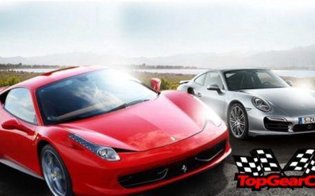 Zažijte jízdu v SUPERSPORTU za akční ceny již od 749 Kč s TopGearCar Race! Poznejte sílu italského hřebce ve vozech Porsche, svezte se Ford Mustangem GT-CS nebo usedněte za volant divokého Ferrari 458 Italia + mnoho dalších!