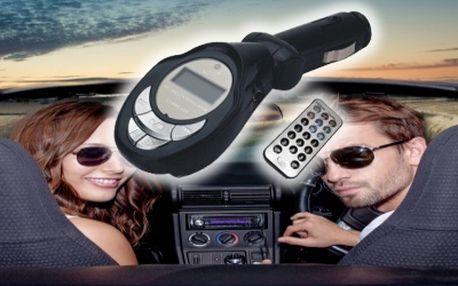 FM transmitter pro poslech hudby v autě. Přehrává písničky z mobilu, paměťové karty nebo z USB.