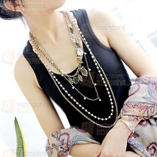 Vintage náhrdelník s různými přívěsky a perličkami a poštovné ZDARMA! - 14009681