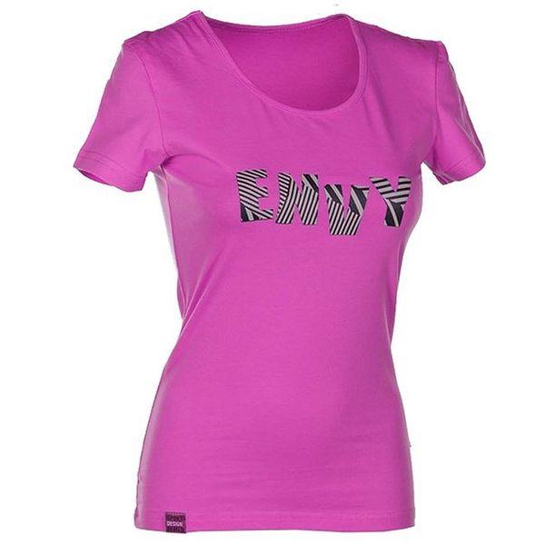 Dámské růžové tričko s nápisem Envy