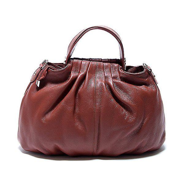 Originální hnědá kožená kabelka s řasením Renata Corsi