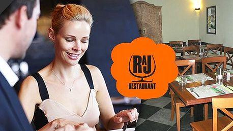 Kupon na 40% slevu na veškerá jídla v Restaurantu Ráj v Praze! Stylová restaurace vás uchvátí novým jídelním lístkem a milou obsluhou!