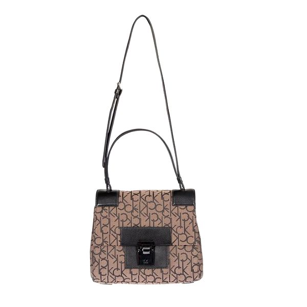 Dámská potištěná kabelka v hnědé barvě Calvin Klein