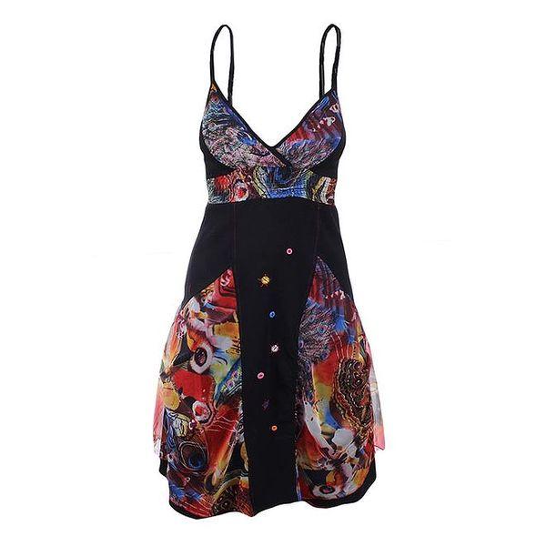Dámské černé žabičkované šaty s barevnými prvky Dislay DY Design
