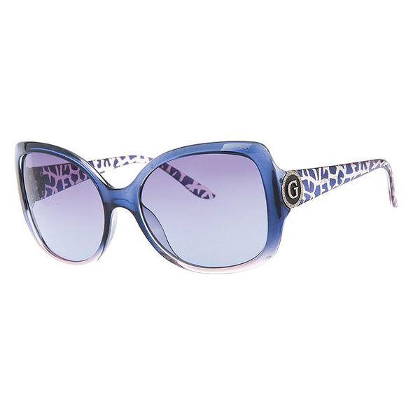 Dámské modré brýle se vzorovanými stranicemi Guess