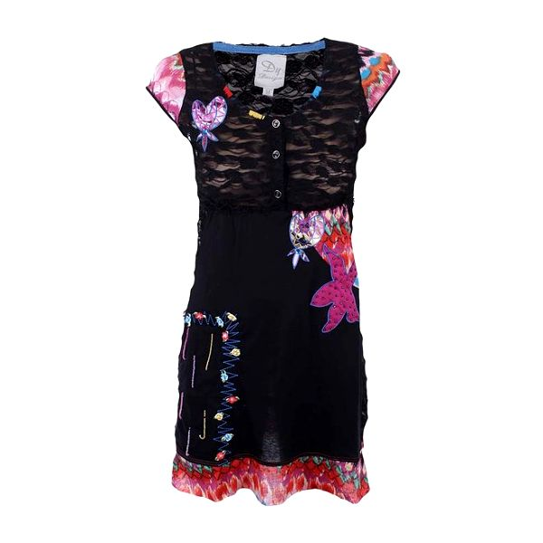 Dámské černé šaty s barevnými prvky Dislay DY Design