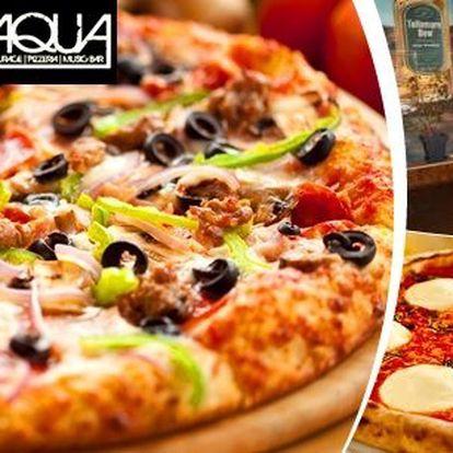 Dvě pravé italské pizzy. Tomu se prostě nedá odolat! Průměr pizzy 32 cm v Restauraci Aqua Eden. Možnost výběru z 8mi druhů.