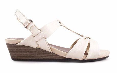 Dámské bílé sandálky na klínku Bel Canto