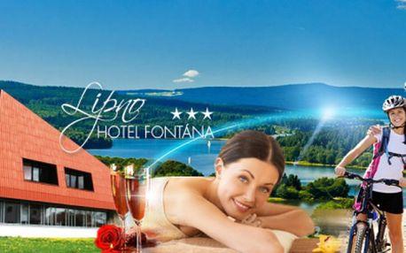 Nabitý relaxační pobyt v hotelu Fontána*** na břehu Lipenské přehrady! 3 DNY pro DVA včetně POLOPENZE, SEKTU, MASÁŽE, neomezeného BAZÉNU, SAUNY, FITNESS a dalšího za 2899 Kč! Užijte si relax uprostřed krásné přírody!