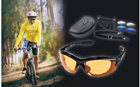Sportovní brýle s výměnnými nerozbitnými skly, ochrání vaše oči před sluníčkem, hmyzem a dodají vám šmrnc. Chraňte své oči při sportu.
