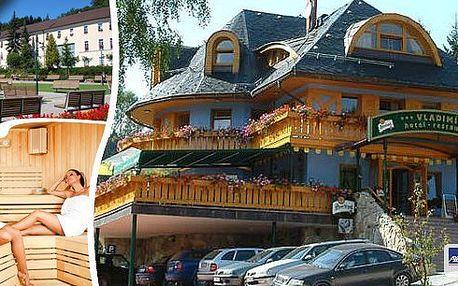 Pobyt pro 2 osoby na 3 dny ve 3* hotelu Vladimír přímo pod Černou horou v nádherném prostředí světoznámých Jánských Lázní. Bohatá polopenze, džbánek vína, infrasauna a navíc zpáteční jízdenky na lanovku! Vaše ideální letní dovolená !!!